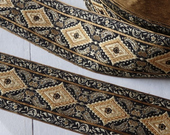 "Luxury sari border in elegant black and gold - ONE yard, wide sari border, 60mm / 2 3/8"" wide gold and black trim, brocade trim - 1 yd."