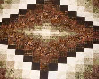 "batik bargello runner green/brown 26.5x78"" top and binding only"