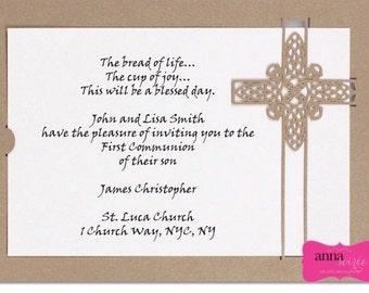 INVITATIONS Communion or Christening - Laser cut with shimmer paper, customize font and wording