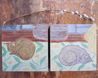 Diptych of Two Cats in Repose Original Paintings on Wood Panel