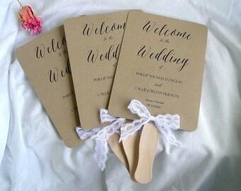 Wedding Fan Wedding Program Fans Kraft Rustic Ceremony Program Fans Wedding Fans Wedding Paddle Fan Program Fan Custom Any Color