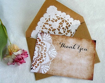 Thank you Card Wedding Shower Birthday Kraft Doily Lace Envelope Vintage Rustic n White Lace Doily Paper Lace Envelope Custom Size