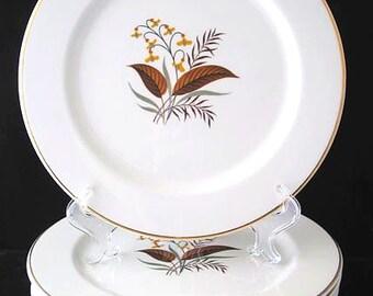 Lifetime China Linden Dinner Plates Mid Century Dinnerware Vintage 1960s Set of 7