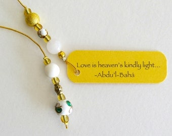 Lily white cloisonné beaded bookmark
