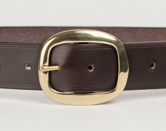 Dark Brown Bridle Leather Belt with 1.5 inch Oval Buckle