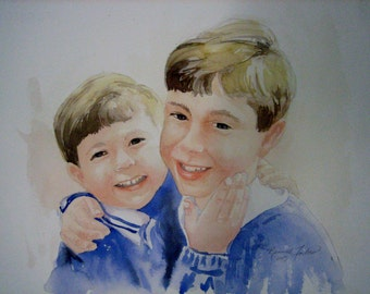 Portrait Commission Watercolor Original Customized Painting from your Photo Price Varies based on color, size and number people in portrait