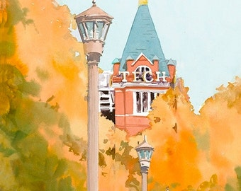 Georgia Tech Tower Limited Edition giclee print - Tech Tower from original watercolor - college print GA Institute of Technology - Atlanta