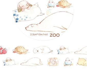 1 Roll Limited Edition Washi Tape: Sleeping Animals