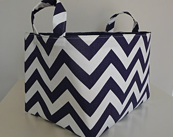 Extra Large Storage Basket Fabric Organizer in Premier Prints Zig Zag Twill Navy Blue and White Chevron with Handles - Choose Size