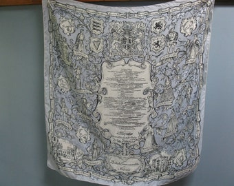 Vintage 1950's Blue Silk Scarf British Commonwealth of Nations by Symphony