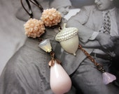 Pink Blush Mismatched Vintage Style Flower Earrings, Nature, Romantic