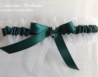 Emerald Green - Puffy Heart Charm - Wedding Tossing Garter Belt - One Size - Plus Size