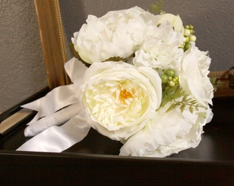 Sale - Bridal Bouquet White, Fabric Wedding Bouquet, White Flowers - READY to Ship