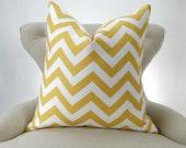 Yellow Zigzag Pillow Cover -MANY SIZES- corn white chevron -decorative throw euro sham cushion modern contemporary premier prints slub