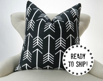 "Ready to Ship! Black Pillow Cover, Arrow Pattern Throw Pillow, Black and White, for 18x18"" pillow"