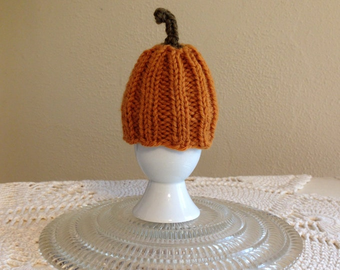 Pumpkin Egg Cozy, Knitted Egg Cozy, Porcelain Egg Cup