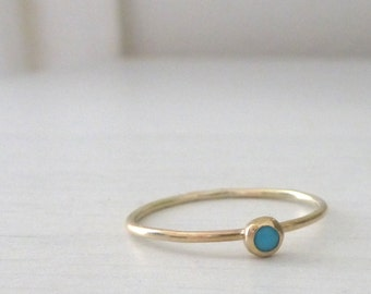 9ct Gold Ring - Turquoise Ring - Skinny Stacking Ring - 9ct Yellow Gold