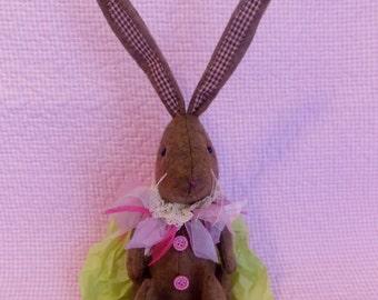 Vintage EASTER BUNNY Country Cottage RABBIT in Pink * Soft Sculpture Easter Bunny * Easter Basket Decor *Rabbit Figurine