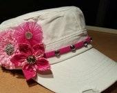 Juanita Custom Order: White distressed cadet hat with pink embellishments