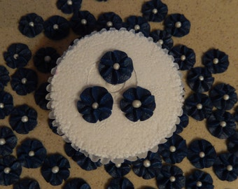 100 Navy Blue Royal Icing Drop Flowers for Cupcakes ,Cakes, Cookies,Cakepops