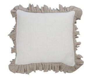 Ruffle cushion - ruffled cover - decorative pillow - ruffle bedding - linen ruffle - linen cushion cover - rustic ruffles