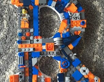 Custom toy brick wall letter, R, letter