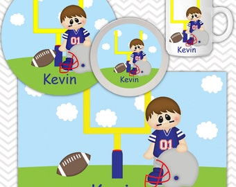 Football Plate & Bowl Set - Personalized Football Set - Customized Plate and Bowl - Melamine Plate and Bowl Set for Kids