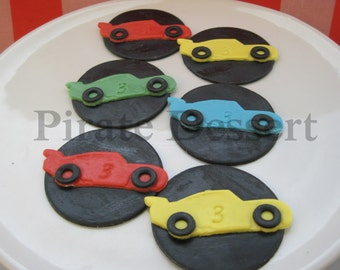 Edible cupcake toppers- RACE CAR set- Edible Cars themed cupcake toppers- Birthday cupcakes- NASCAR Cupcake toppers- (6 pieces)