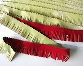 Vintage flocked fringe green and red reversible