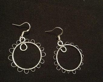 Wire Wrap Earrings/ Dangle Earrings/ Silver Wire Wrap Earrings/ Wire Wrapped Earrings/ Wire Weave Earrings