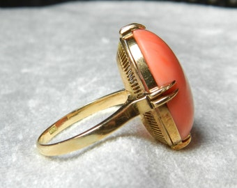 Coral Ring 18K Genuine Red Coral Ring 18K Yellow Gold Vintage Art Deco Coral Ring