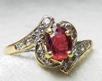 Ruby Ring Ruby Engagement Ring 14k Gold Ruby Diamond Ring Natural Ruby Diamond Halo July Birthday