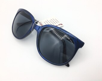NEW BOLLE ACRYLEX 396 Electric blue w/ Black Pattern Frame Gray Lenses Sunglasses vintage 1980's