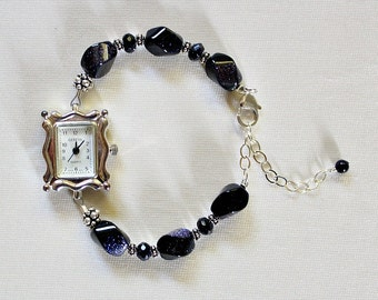 50th Birthday Gift,For Woman,Blue Goldstone,60th Birthday Gift,For Mom,Sterling Silver Bracelet Watch,Graduation Gift,Retirement Gift,Unique