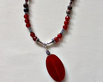 60th,70th,Birthday,Retirement Gift,Carnelian,Leopard Jasper,Garnet,Statement Necklace,Unique,For Mom,From Daughter,July Birthstone Gift