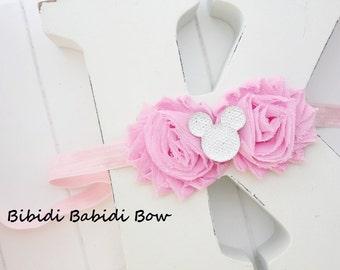 Mickey Mouse headband- Pink flower- Girl headband -Toddler headband, Baby girl  hair accessory -Birthday gift- baby shower gift - photo prop