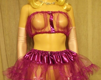 M-4X; Sissy Top & Skirt Raspberry Purple Glitter Tulle M L XL 2XL 3XL 2X 3X 4X Adult Baby Cosplay Lingerie CD Drag Bra Top Mini