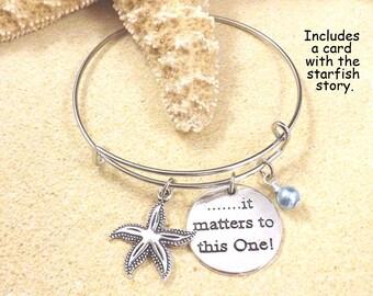 Teacher Gift, Starfish Bangle, It Matters To This One Bracelet Starfish Story Adoption Bracelet Beach Jewelry Inspirational Adoption Jewelry