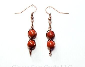 Red Jasper earrings, dangle earrings, handmade earrings, red jasper stones, wire wrapped