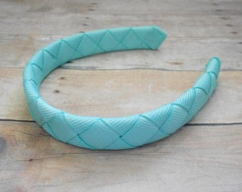 Auqua Blue Green headband for American Girl and other 18 inch dolls