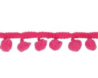 Riley Blake - Sew Together Notions Pom Poms 1/2 in Hot Pink by the Yard