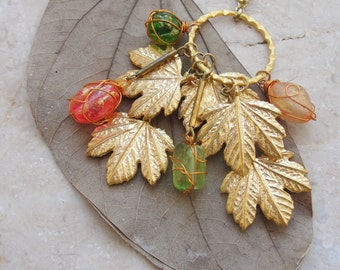 Maple Leaves Keychain / Bag adornment Gold dipped Italian Leaves with Picasso beads