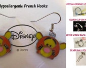 Tiger Tsum Tigger Earrings -CHOICE- Handmade Steel Hypoallergenic Leverback French Hook Post Pierced OR Clip On