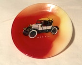 Mid Century Modern MORRIS Car Marbled Red Yellow Glass Plate Collectible Retro Vintage 4 inch Decorative Tray