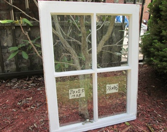 20 x 25 Vintage Window sash old 4 pane frame from 1958 Arts& Crafts