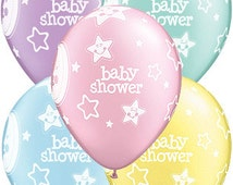moon and stars Baby shower ~ balloons x 6 ~ new baby arrival ~ baby announcement ~ natural setting ~ girl boy twins ~ pastel baby shower
