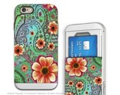 Paisley iPhone 6 6s Card holder Case with Floral Art - Paisley Paradise - Green and Orange Credit Card Apple iPhone 6 Case with Rubber Sides