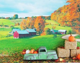 Green Tootsie Toy Truck & Pumpkins Leaves / Rustic Mid Century Kitsch Autumn Fall Décor / Diorama Fairy Gardeny / Vintage Thanksgiving Decor