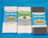 Vintage All Cotton Hem Facing - 3 Packages - White, Dark Grey - 2 Inches Wide, 3 Yards Long - New in Package - Destash