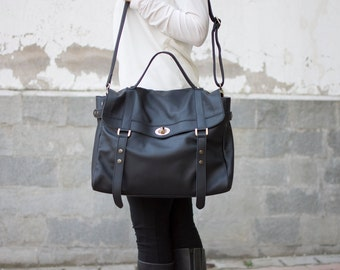 Black leather messenger bag - Leather laptop messenger bag - Women's laptop bag - MELINA bag